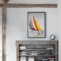 Framed 24 x 36 - Two colors sailing boat