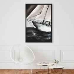Framed 24 x 36 - Boat in a violent storm