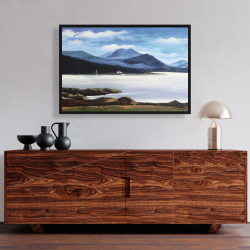 Framed 24 x 36 - Scottish highlands by a beautiful day