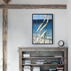 Framed 24 x 36 - Wild herbs in the wind on at the beach