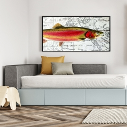 Framed 24 x 48 - Pink trout on a map