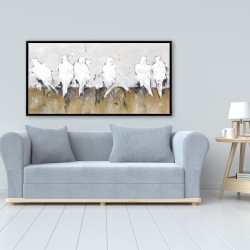 Framed 24 x 48 - Abstract perched birds