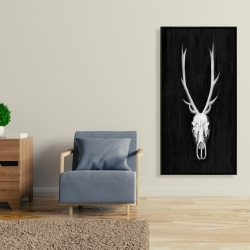 Framed 24 x 48 - Deer skull on black background