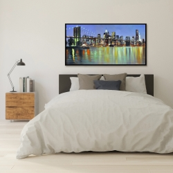 Framed 24 x 48 - Colorful city with a bridge by night