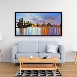 Framed 24 x 48 - Colorful city with a bridge by day