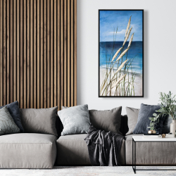 Framed 24 x 48 - Wild herbs in the wind on at the beach