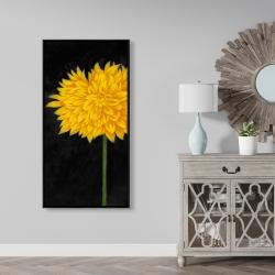 Framed 24 x 48 - Yellow chrysanthemum