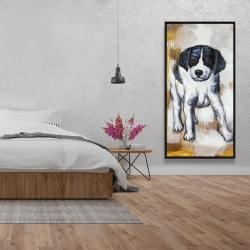 Framed 24 x 48 - Curious puppy dog