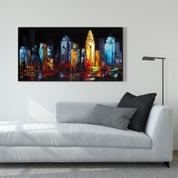 Framed 24 x 48 - Colorful abstract cityscape on a dark background