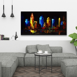Framed 24 x 48 - Colorful buildings on a dark background