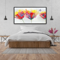 Framed 24 x 48 - Colorful flowers with a butterfly