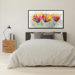 Framed 24 x 48 - Four colored flowers on gray background