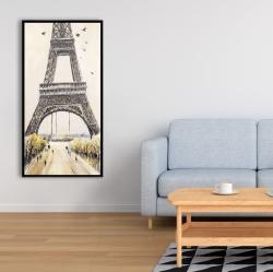 Framed 24 x 48 - Eiffel tower with flying birds