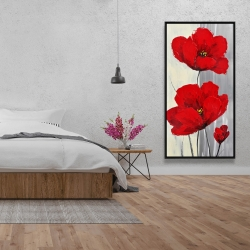 Framed 24 x 48 - Red flowers on a gray background