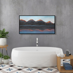 Framed 24 x 48 - Mountains and calm lake