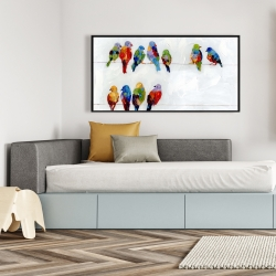 Framed 24 x 48 - Colorful birds on a wire