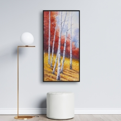 Framed 24 x 48 - Fall landscape with birches