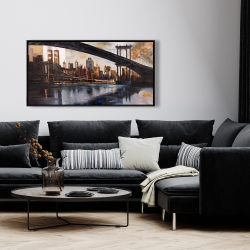 Framed 24 x 48 - Sunset over new york