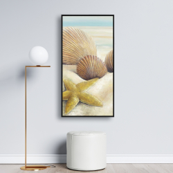 Framed 24 x 48 - Starfish and seashells view on the beach