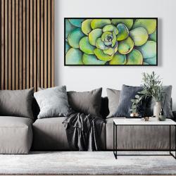 Framed 24 x 48 - Watercolor succulent plant
