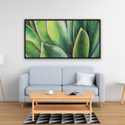 Framed 24 x 48 - Watercolor agave plant
