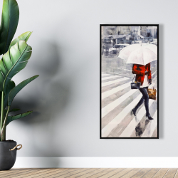 Framed 24 x 48 - Woman walking with her umbrella