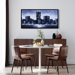 Framed 24 x 48 - Dark blue cityscape