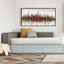 Framed 24 x 48 - Abstract colorful skyscrapers