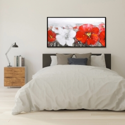 Framed 24 x 48 - Gray field with red flowers