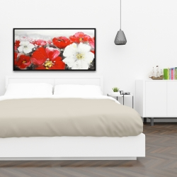 Framed 24 x 48 - Red and white flowers field