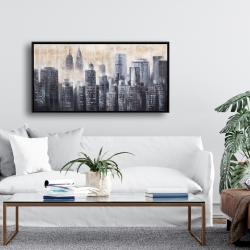 Framed 24 x 48 - Buildings through the clouds