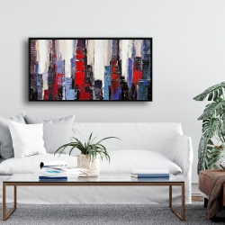 Framed 24 x 48 - Abstract red and blue buildings
