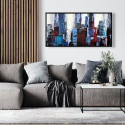 Framed 24 x 48 - Abstract blue city