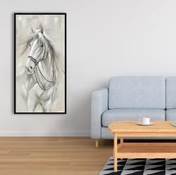 Framed 24 x 48 - Worthy white horse