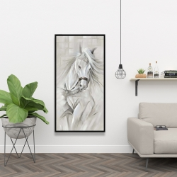 Framed 24 x 48 - White horse with his mane in the wind