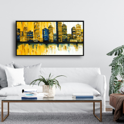 Framed 24 x 48 - Yellow abstract skyscraper 1