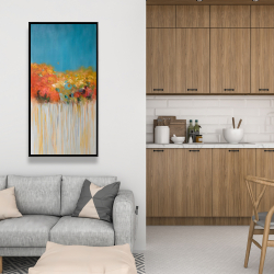 Framed 24 x 48 - Colorful abstract flowers on blue background