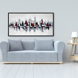 Framed 24 x 48 - Gray and red floating cityscape