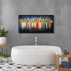 Encadré 24 x 48 - Réflexion colorée d'un paysage urbain de nuit