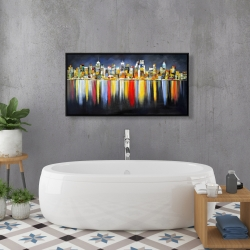 Framed 24 x 48 - Colorful reflection of a cityscape by night