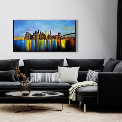 Framed 24 x 48 - City by night with a bridge