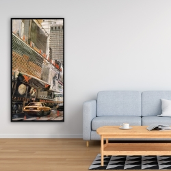 Framed 24 x 48 - Street view with yellow taxi