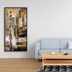 Framed 24 x 48 - Big city street by a cloudy day