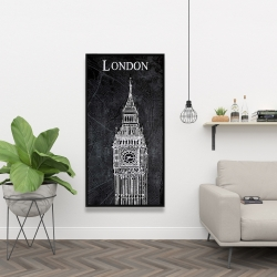 Framed 24 x 48 - Big ben sketch with a map in background