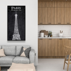 Framed 24 x 48 - Eiffel tower sketch with a map in background