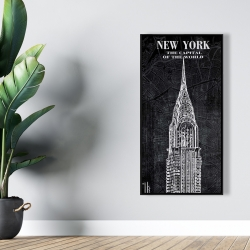 Framed 24 x 48 - Chrystler tower sketch with a map in background