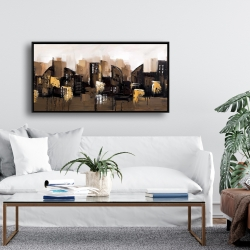 Framed 24 x 48 - Brown abstract cityscape
