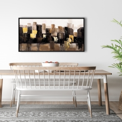 Framed 24 x 48 - Earthy tones abstract cityscape