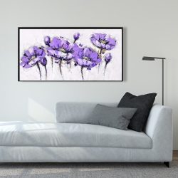Framed 24 x 48 - Abstract purple flowers