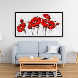Framed 24 x 48 - Abstract poppy flowers